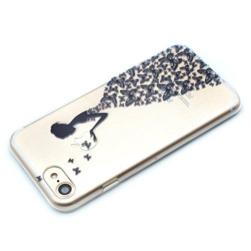 iPhone 8 Coque , Leiai Mode Fille papillon Clear Silicone Doux TPU Housse Gel Etui Case Cover pour Apple iPhone 8