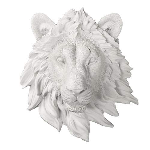 Wall CHARMERS Mini White Faux Lion Head Wall Hanging - 9