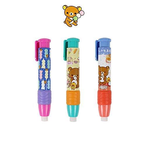 New Rilakkuma Knock Type Pen Style Push Eraser : Dango (Set of 3)