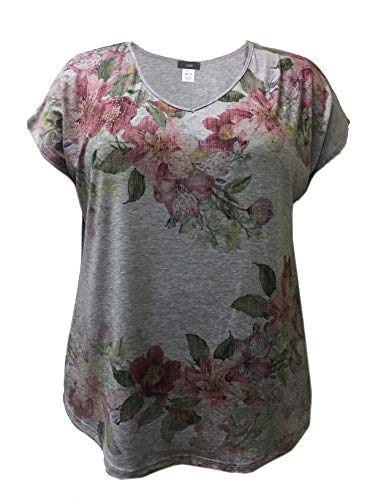 LEEBE Plus Size Floral Print with Stones Top (4X, Multi Floral) ()