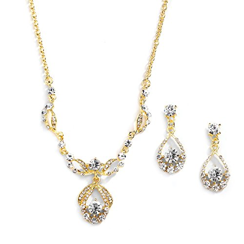 (Mariell 14K Gold Plated Vintage Crystal Necklace & Earrings Jewelry Set for Prom, Bridal and Bridesmaids)