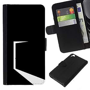 YiPhone /// Tirón de la caja Cartera de cuero con ranuras para tarjetas - Minimalista Negro Puerta - HTC Desire 820