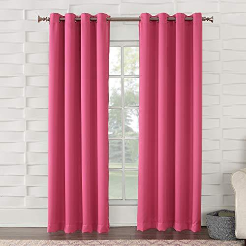 "Sun Zero Barrow Energy Efficient Grommet Curtain Panel,Pink,54"" x 84"""