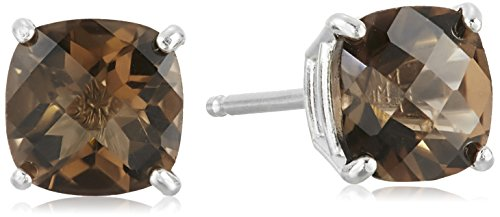Sterling Silver Cushion Checkerboard Cut Smoky Quartz Stud Earrings (6mm)