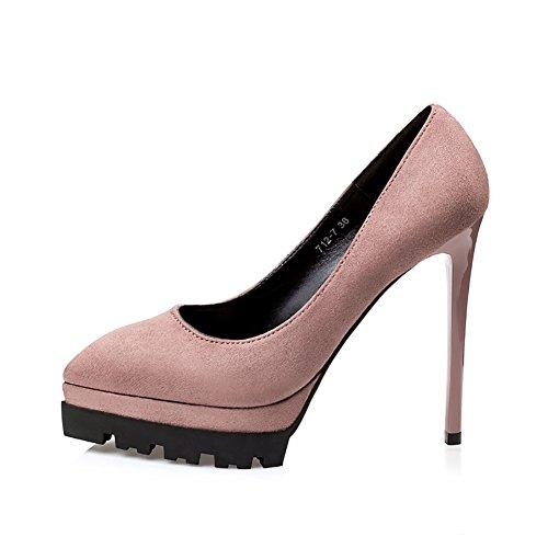 Escarpins Pompes Femmes Plate De Robe Chaussures Ville Haute Talon A forme suède No Khaki 66 orteil w7nPqxI8t