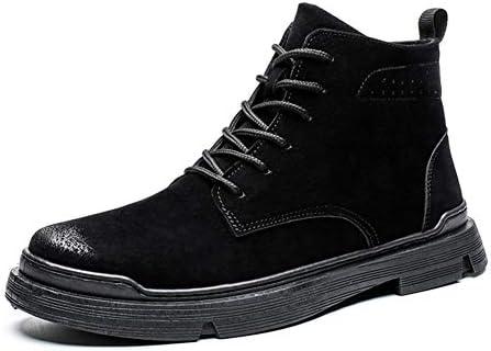 男性作業ブーツレースのための古典的なアンクルブーツアップフェイクレザーラウンドトウアンチコリジョン足ステッチソフトバーニッシュスタイルの滑り止め YueB AJBE (Color : ブラック, サイズ : 25.5 CM)