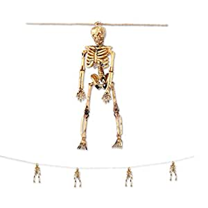 Club Pack of 12 Halloween Hanging Spooky Decorative Skeleton Garland 5'
