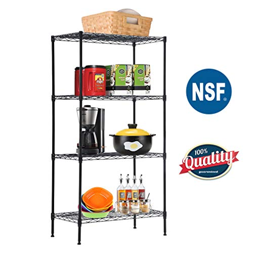 - Wire Shelving Unit Steel Large Metal Shelf Organizer Garage Storage Shelves Heavy Duty NSF Commercial Grade Utility Storage Metal Layer Rack for Garage Kitchen Office (4-Tier)