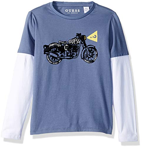 Guess Boys' Little Long Sleeve Layered Graphic T-Shirt, Aegean Blue, 2