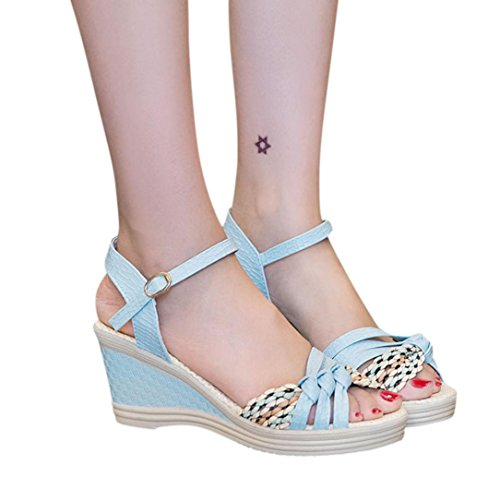 kaifongfu Ladies Sandals,Wedges Shoes Waterproof Summer Sandals Platform Toe High-Heeled Shoe for Women (US:6, Blue) ()
