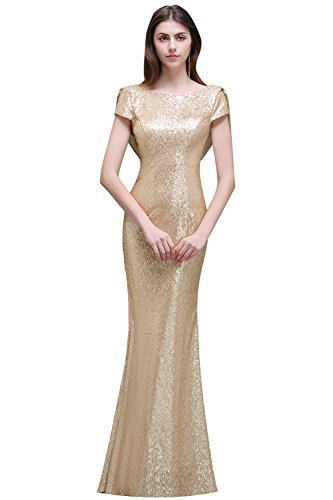 Women's Mermaid Sequined Long Evening Dress Formal Prom Bridesmaid Champagne US8