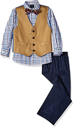 Nautica Boys' 4-Piece Vest Set with Dress Shirt, Bow Tie, Vest, and Pants, White/Blue, 3T ()