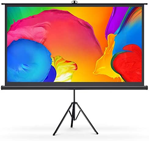 """Bomaker Portable Projector Screen with Stand, Indoor Outdoor 100"""" 16:9 4K Ultra HD Movie Projector Screen, 1.1 Gain, 160° Viewing Angle, Wrinkle Free for Home Theater, Backyard Movies, Office, Class"""