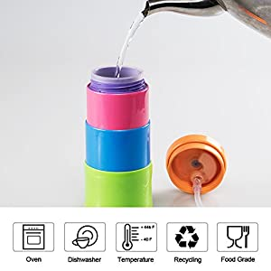 L-TMS Colorful Pocket-sized Collapsible Travel Water Bottle - BPA Free,Silicone Inner Tank