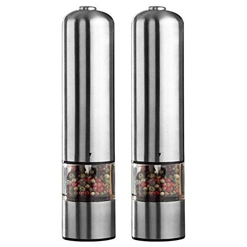2pcs Electric Spice Sauce Salt Pepper Stainless Steel Mill Grinder With Light