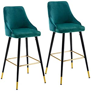 Set of 2 Bar Stools with Backrest Fabric Velvet Barstool Metal Legs Colour Selection Duhome 5170G, colour:teal, material:Velvet