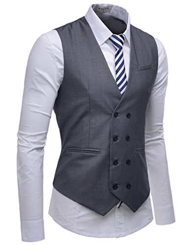 NEARKIN (NKNKVE603) Beloved Mens Double Breasted 8 Button Classic Formal Waistcoat GRAY US S(Tag size S) by NEARKIN
