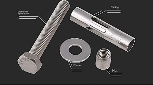 304 Stainless Steel Expansion Screw Hoisting Expansion Bolt External Hexagon Reduction Belt Built-in Tension Explosion 1Pcs Length : 60mm, Size : M8