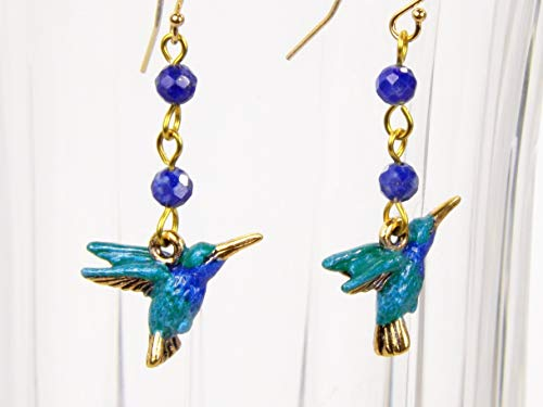 Blue Hummingbird Earrings Hand Painted with Lapis Lazuli Beads and Gold Filled Ear Wires