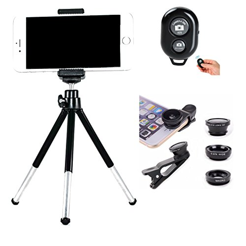Cheap Accessory Kits Cell Phone Camera Kit, Cell Phone Tripod, Bluetooth Remote Shutter and Universal..