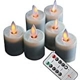 NONNO&ZGF Moving Wick 1.5 X 2.6 Inch Votives Flameless Tea Lights w/Remote and Dancing Flame, Ivory, Set of 6