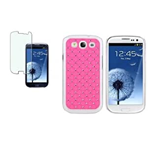 Bloutina CommonByte PINK Deluxe Bling Hard Case+Bling LCD Film For SAMSUNG GALAXY S III 3 S3 i9300