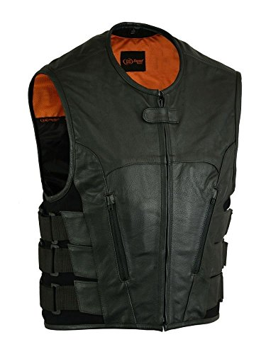 MEN'S MOTORCYCLE BIKER UPDATED TACTICAL SWAT STYLE SOFT LEATHER VEST NEW BLACK (3XL Regular) from Daniel Smart