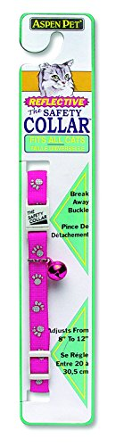 Doskocil Aspen Pet Products Break Away Reflective Paw Collar, Pink, 3/8