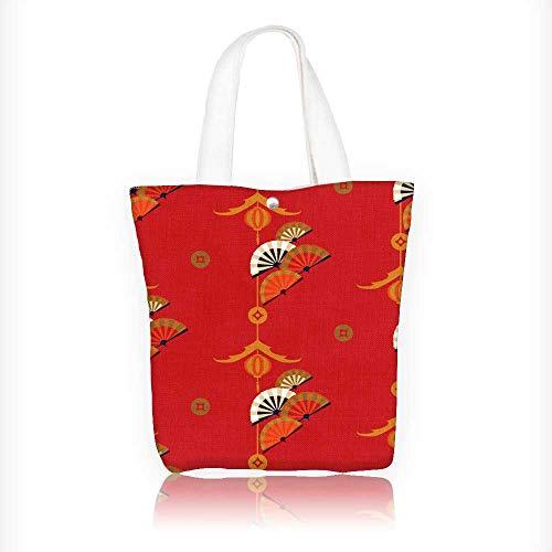 Reusable Cotton Canvas Zipper bag chinese fan Tote Laptop Beach Handbags W16.5xH14xD7 INCH
