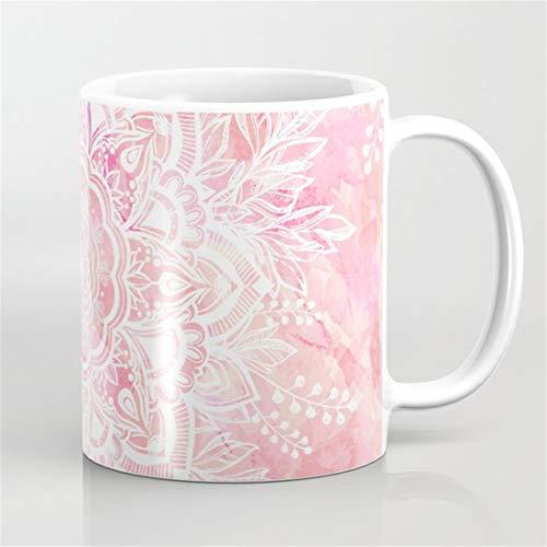 Flowers Starring - Queen Starring of Mandalas-Rose Coffee Mug,Flower Floral Boho Bohemia Mug