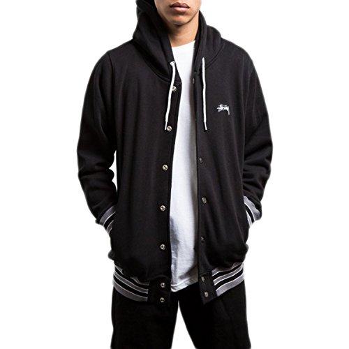 Stussy Mens Hooded Snap Fleece Hoody Pullover Sweatshirt Large Black