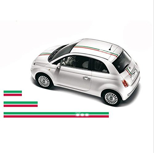 FIAT 500 Bonnet roof Decal Stripes Set Abarth 3 pcs. (red - ()