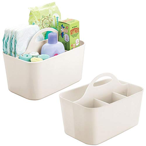 mDesign Plastic Nursery Storage Caddy Tote, Divided Bin with Handle for Child/Kids - Holds Bottles, Spoons, Bibs, Pacifiers, Diapers, Wipes, Baby Lotion - Small, 2 Pack - Cream/Beige