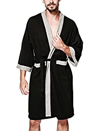 Dolamen Men's Women's Dressing Gowns Bathrobe Kimono Cotton Nightwear