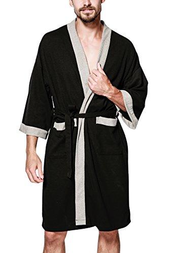 Dolamen Albornoz para Hombre y Mujer, Suave y ligero Algodón Camisón, Robe Albornoz Dama de honor Ropa de dormir Pijama, Para Spa Hotel Sauna Negro