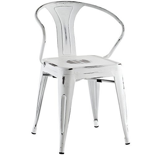 Modway Promenade Modern Aluminum Bistro Dining Chair in White by Modway