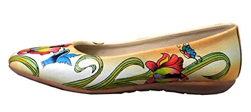 Niarvi - Bailarinas de piel para mujer beige multicolor