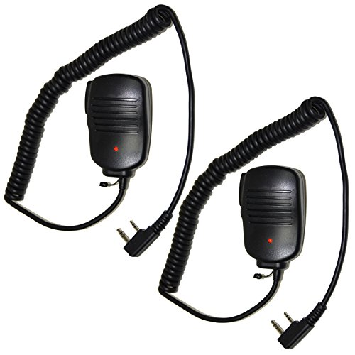 Plug D7 - HQRP 2-Pack 2 Pin PTT Mini Speaker Mic for Kenwood TH-D7, TH-D7A, TH-D7A(G), TH-D7AG, TH-D7E + HQRP UV Meter