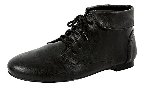 Spicy Women's F703 Lace-Up Closed Toe Folded Cuff Chukka Ankle Bootie (8 B(M) US, Black PU)