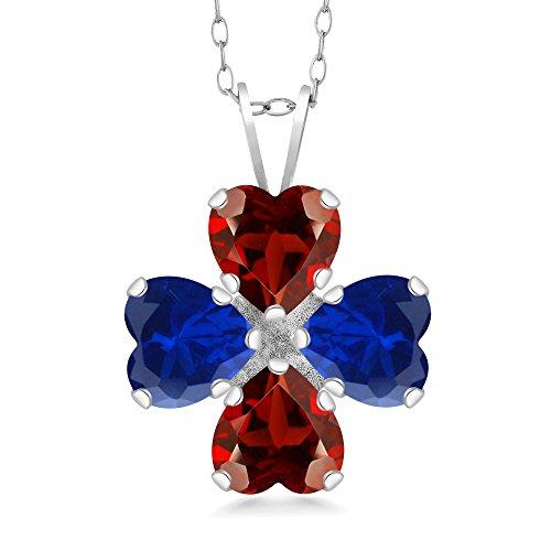 Gem Stone King 3.40 Ct Heart Shape Red Garnet Blue Simulated Sapphire 925 Silver Pendant