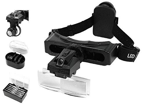 Magnifier Magnifying Head Visor Set Eyeglass LED Light Up To 15X Illuminated ()