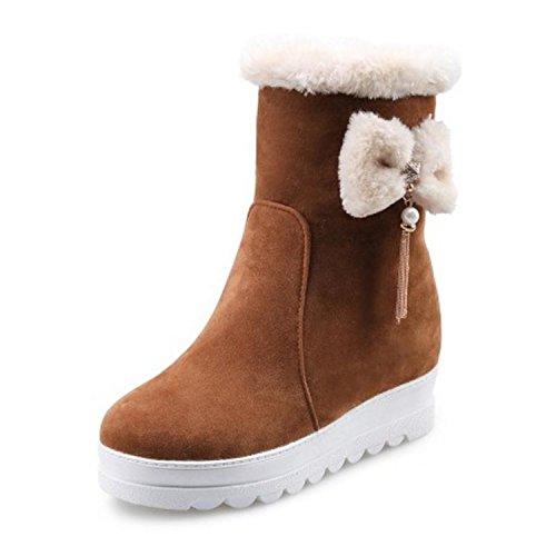 Better Annie Size 34-43 Winter Warm Fur Plush Inside Mid Calf Snow Boots Women Bowknot Tassels Thick Platform Shoes Women Warm Botas