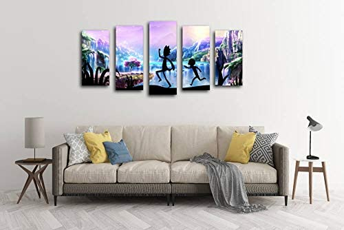 5 Panels Canvas Rainbow Painting Wall Art Rick and Morty Posters On Canvas Oil Painting Posters and Prints Decorations Wall Art Picture Living Room Wall Ready to Hang Home Decor Picture