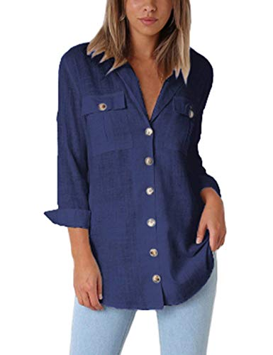 Jeazi Womens Utility Shirt with Casual Roll-up Sleeve V Neck Button Down Pockets Loose Blouse Shirt Tops