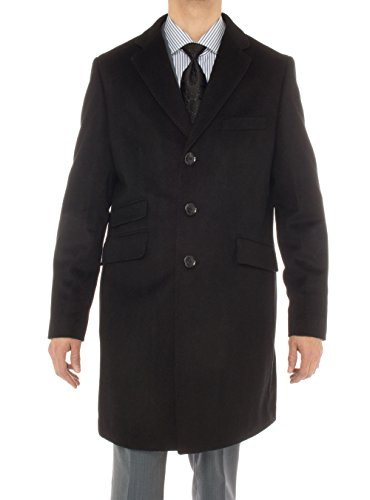 Worsted Wool Cashmere (Luciano Natazzi Men's Cashmere Topcoat Modern Ticket Pocket Trench Coat Overcoat (46 US - 56 EU, Black))