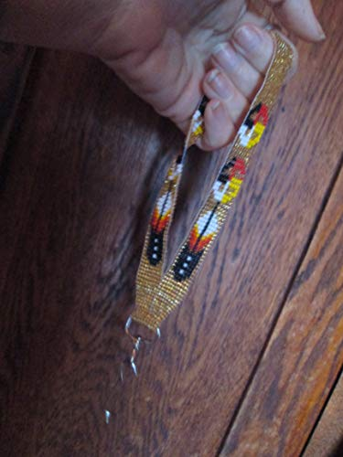 (wristlet key chain keys key holder GOLD feathers southwest Indian design Hand beaded Guatemalan central american Native I.D. ID badge holder tag lanyard fair trade glass seed bead Aztec Ethinc)