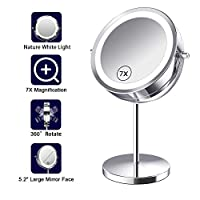 Benbilry 7X Magnified Lighted Makeup Mirror – 7 Inch Double Sided LED Vanity Mirror with Magnification, Cosmetic Mirror with Lights for Bathroom or Bedroom, Battery Operated (7X Button Switch Mirror)