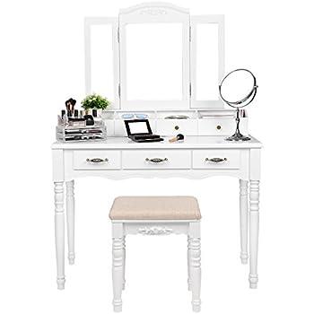 Amazon Com Songmics Vanity Set Tri Folding Mirror Make