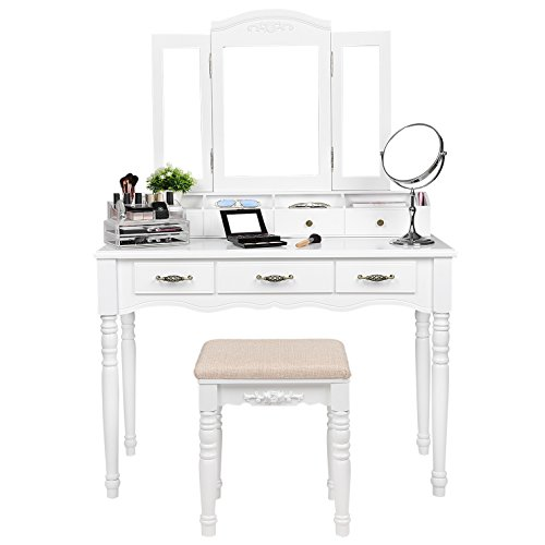 SONGMICS 7 Drawers Vanity Table Set with Tri-folding Necklace Hooked Mirror, 6 Organizers Makeup Dressing Table with Cushioned Stool Easy Assembly White URDT06M