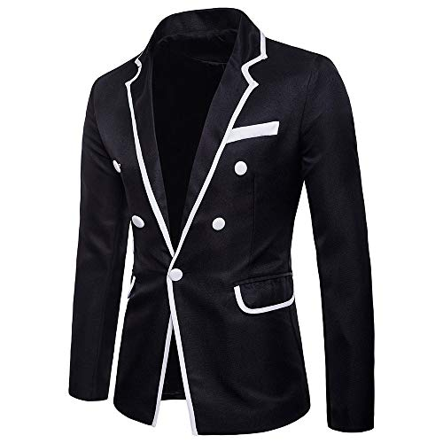 Toimothcn Charm Men's Sequin Casual One Button Fit Suit Blazer Coat Jacket Party(Black2,XXL)